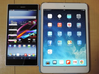 iPad mini retina,Nexus7(2013),Xperia Z Ultra(SOL24)比較検討